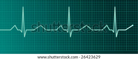 Heart pulse monitor - stock vector