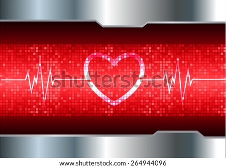 heart pulse monitor with signal. Heart beat. vector illustration. dark red background. silver.Pixel, mosaic, table - stock vector
