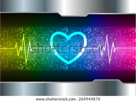 heart pulse monitor with signal. Heart beat. vector illustration. dark yellow blue pink background. silver.Pixel, mosaic, table - stock vector