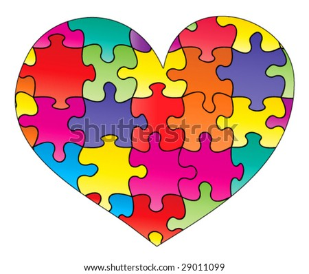 Heart Puzzle - Multiple Color Pieces - Vector Illustration