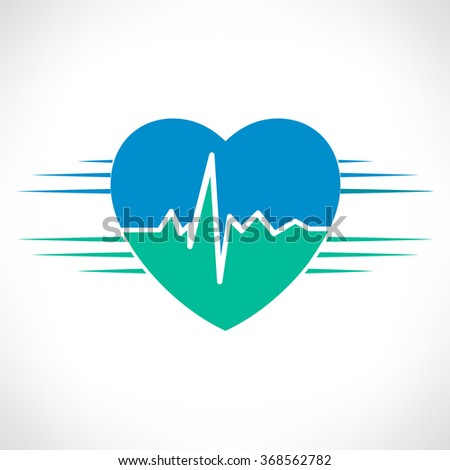 Heart rate isolated over white background.  - stock vector