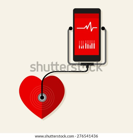 heart rate pulse monitor mobile health monitoring - stock vector