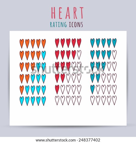 Heart rating icons. Vector illustration - stock vector