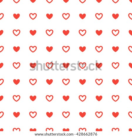 Heart red seamless pattern. Background heart red - stock vector