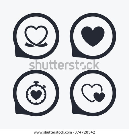 Heart ribbon icon. Timer stopwatch symbol. Love and Heartbeat palpitation signs. Flat icon pointers. - stock vector
