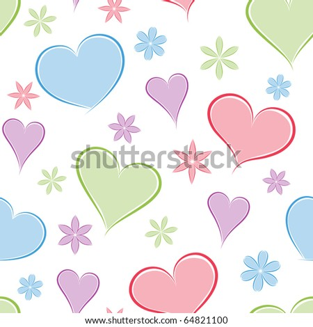 Heart seamless background with flowers. Vector illustration.