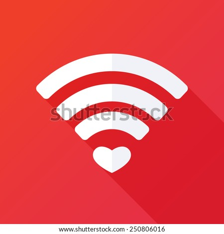 Heart shape and wifi sign. Happy valentine 's day background. Vector illustration. Valentine symbols. Digital love. Internet love. Love connection. Wifi hotspot icon.Online dating concept. Love sign