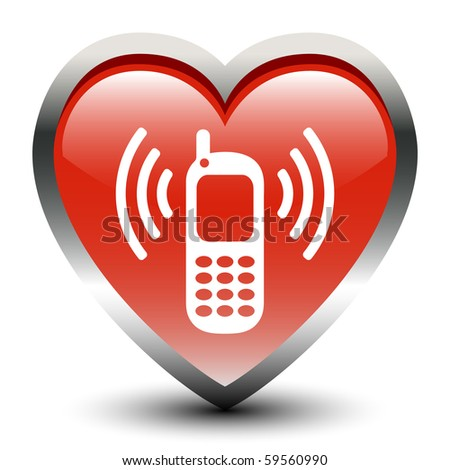 Heart Shape Cellphone Sign  Icon - stock vector