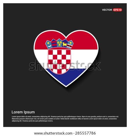 Heart Shape Croatia Flag - stock vector