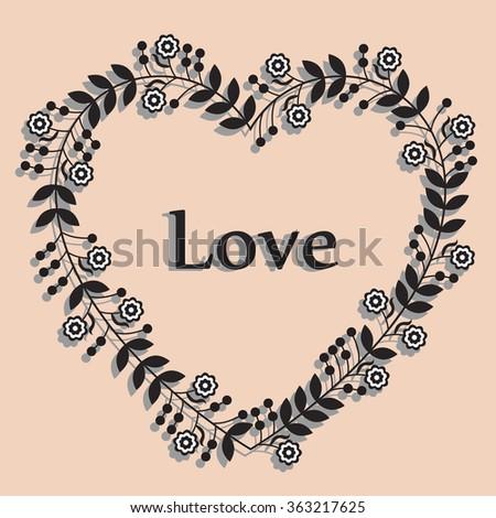 valentines border black and white