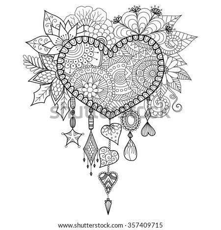 Coloring Pages Of Hearts For Teenagers Difficult Dreamcatchers