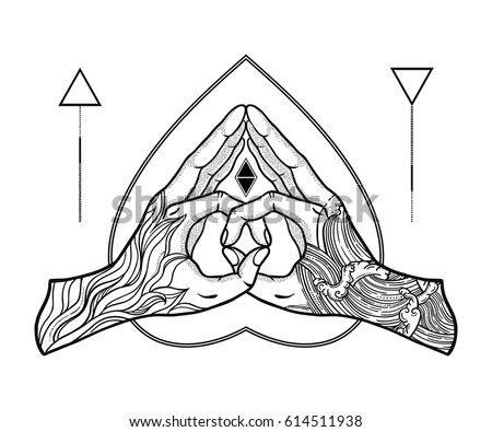 Heart Shape Gesture Symbol Fusion Fire Stock Vector Royalty Free