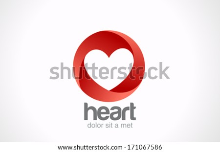 Heart shape hole in Looped Circle vector logo design template. Infinity shape icon. Infinite Love creative concept. Happy Valentines Day! - stock vector