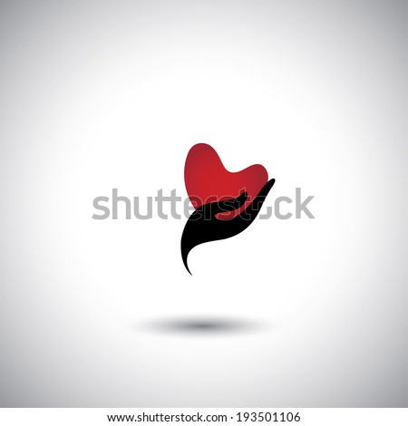 heart shape in a girls hand icon - concept vector of expressing love. The graphic also represents giving love, expression of passion, like, propose for marriage, solicit friendship, show interest - stock vector