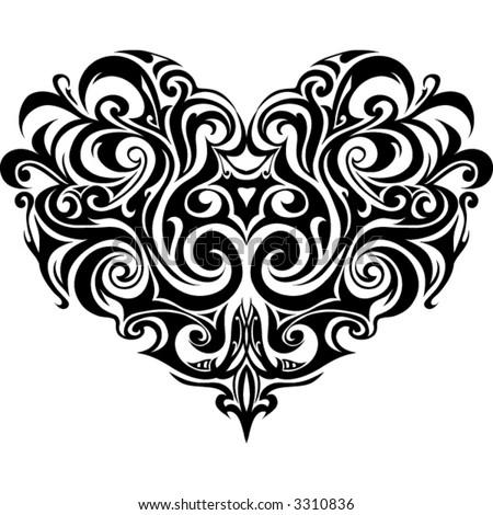 Heart-shape in tribal art style - stock vector