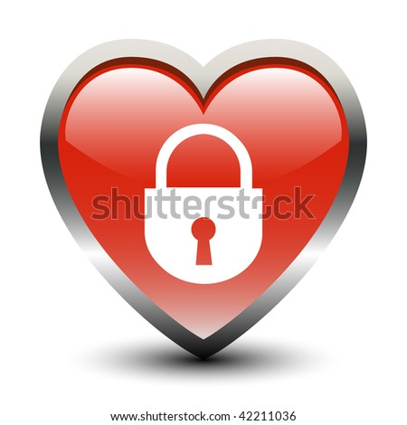Heart Shape Lock Sign Icon - stock vector