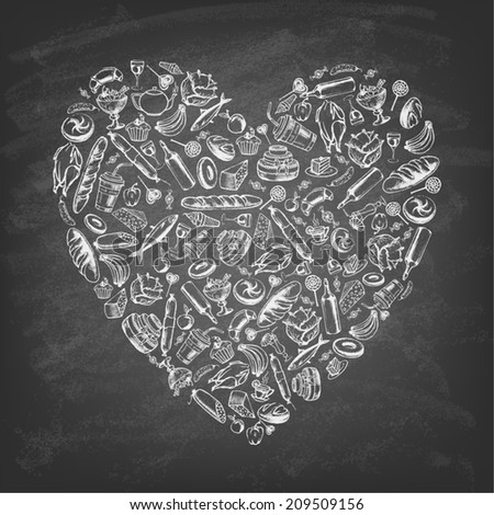Heart shape made from food and drink on blackboard. Vintage style. Vector illustration. - stock vector