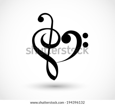 Heart shape made of G-clef, To love music sign. vector - stock vector