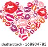 Heart shape made with print kisses - stock photo