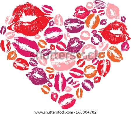 Heart shape made with print kisses - stock vector