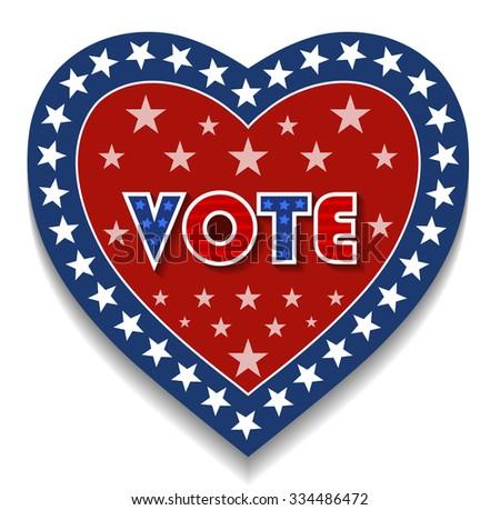 Heart Shape Patriotic Vote Sign - stock vector