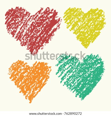 heart shape retro color art strokes stock vector 762890272
