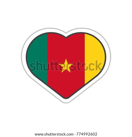 Heart shape sticker or label design for cameroon flag illustration for greeting cards posters