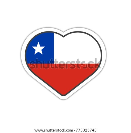 Heart shape sticker or label design for chile flag illustration for greeting cards posters