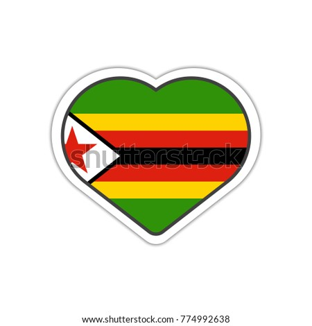 Heart shape sticker or label design for zimbabwe flag illustration for greeting cards posters