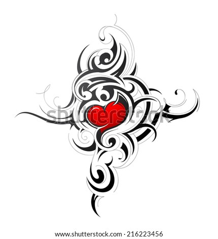 Heart shape tattoo design - stock vector