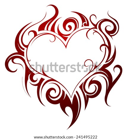 Heart shape tattoo with fire swirls - stock vector