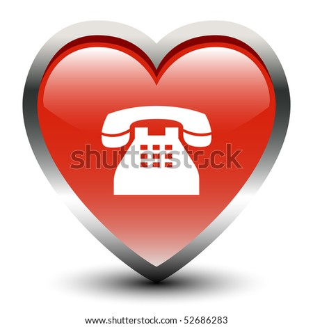 Heart Shape Telephone Sign Icon - stock vector