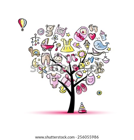 Heart shape tree with toys for baby girl. Vector illustration