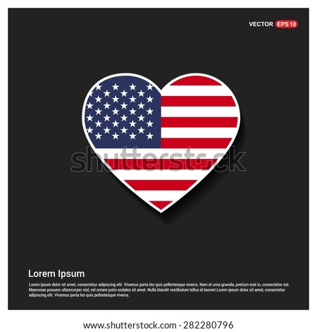 Heart Shape USA America Flag - stock vector