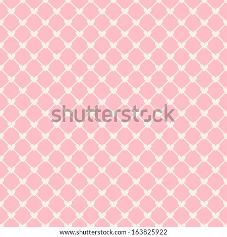 Heart shape vector seamless pattern (tiling). Pink color.  - stock vector