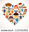 Heart shape with Germany icons - stock
