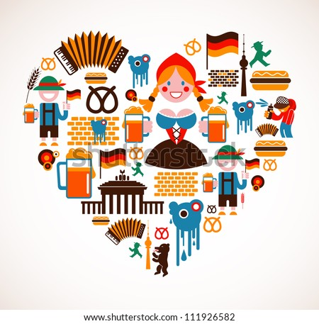 Heart shape with Germany icons - stock vector