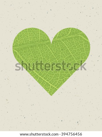 Heart shape with green leaf texture. Nature background with free space for text or image. Green leaf veins texture heart shaped on the recycled paper texture. - stock vector