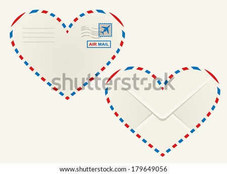 Heart shaped airmail envelope outlined in the striped red and blue airmail sign with the front view showing a postage stamp and rear view the flap - stock vector