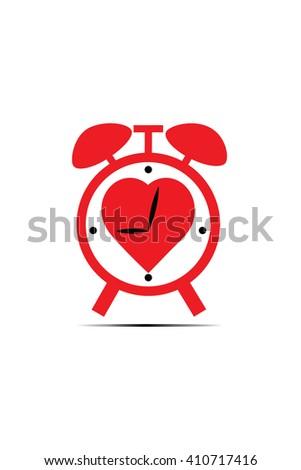 Heart shaped alarm clock on white. Vector illustration - stock vector