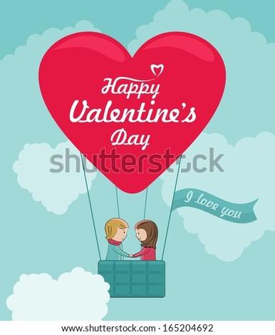 Heart shaped balloon. Vector romantic concept.  - stock vector