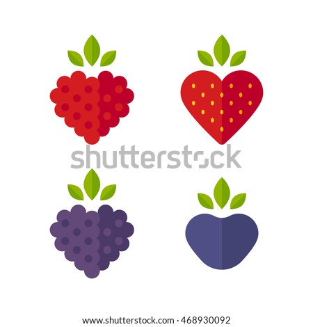 Heart Shaped Berries Icon Set Raspberry Stock Vector Hd Royalty