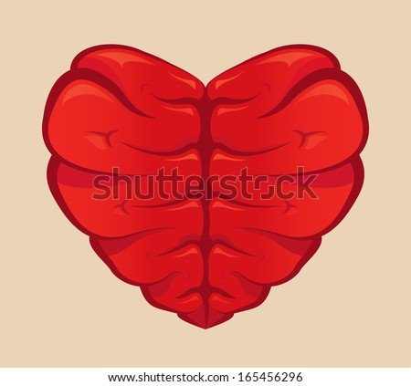 Heart shaped brain drawing on a colored background - stock vector