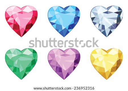 Heart shaped brilliants, no gradients  - stock vector