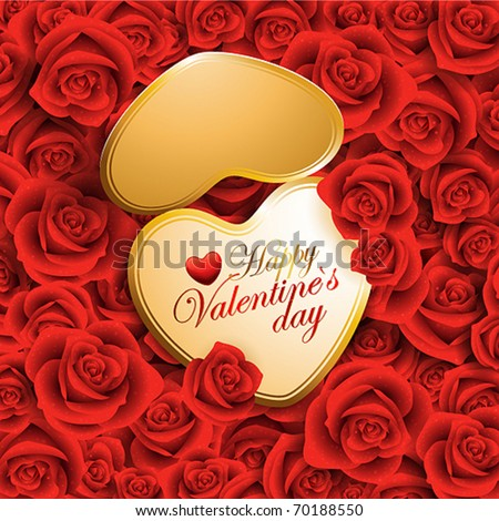 heart shaped card with place for text on red roses