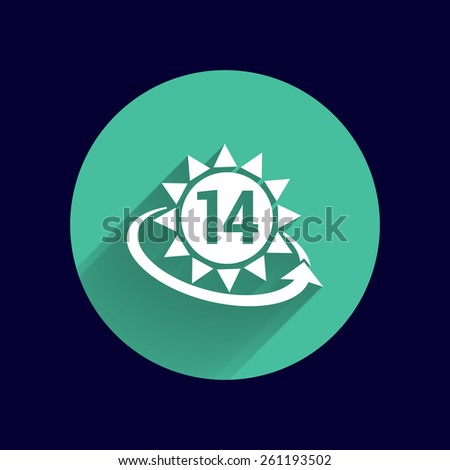 Heart shaped clock and calendar with 14 date. - stock vector