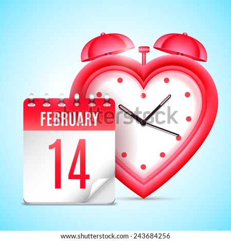 Heart shaped clock and calendar with 14 february date - stock vector