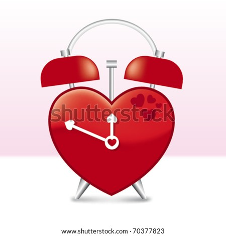 Heart Shaped Clock in vector art
