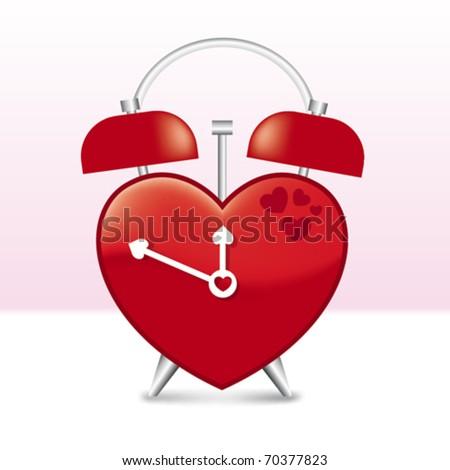 Heart Shaped Clock in vector art - stock vector