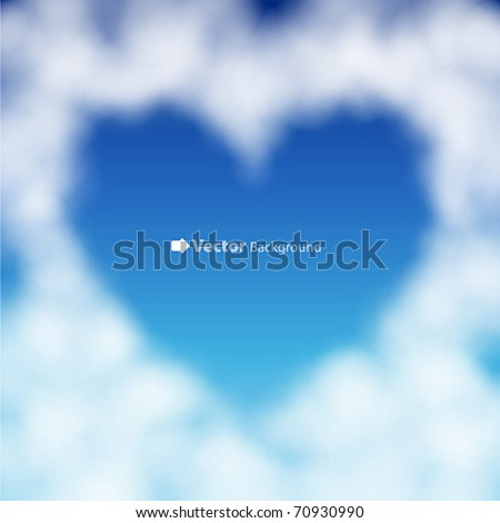 Heart shaped cloud in the blue sky. Valentine`s day illustration - stock vector